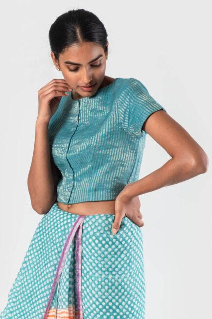 Anavila Blue Striped zari blouse