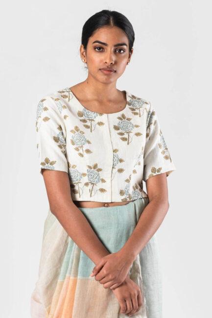 Anavila Ivory Rose block printed khadi blouse (Blue flower printed)