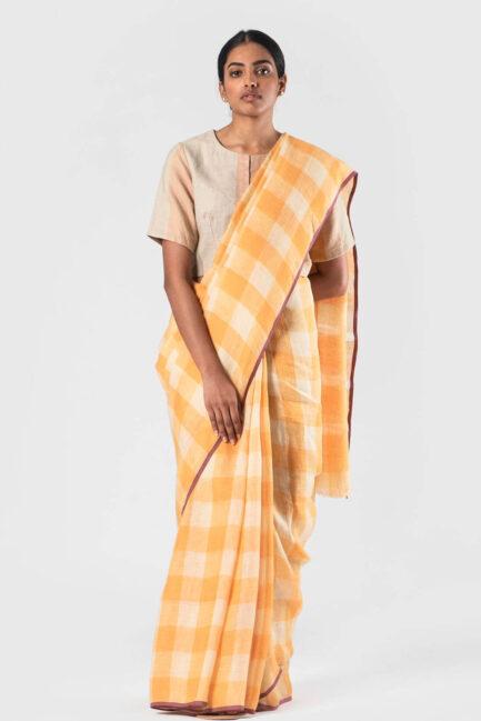 Anavila Tangerine Checkered linen sari