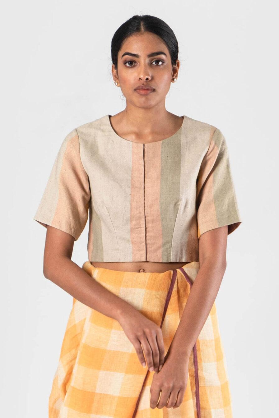 Anavila Peach-Natural Linen striped blouse