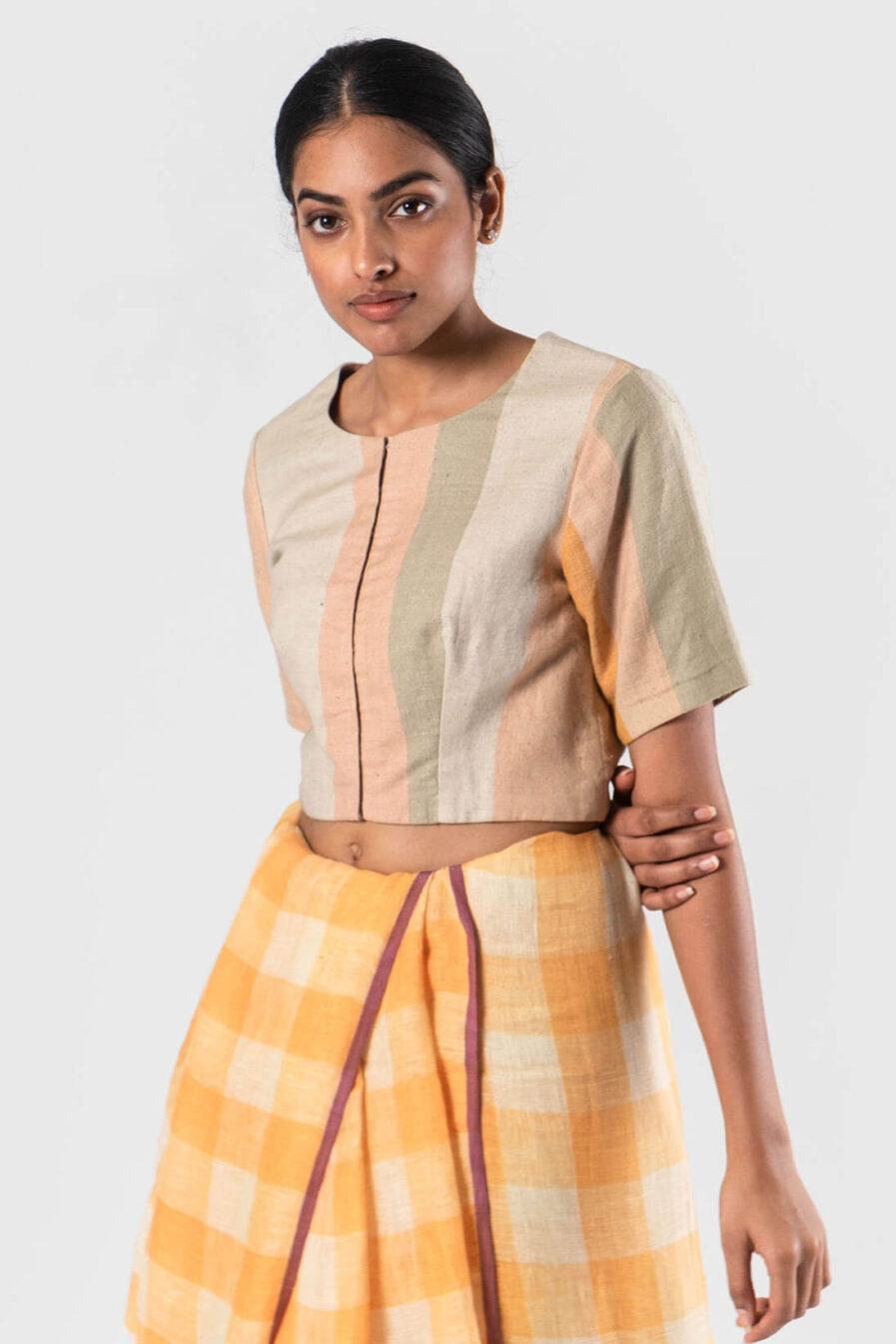 Peach Linen stripes blouse