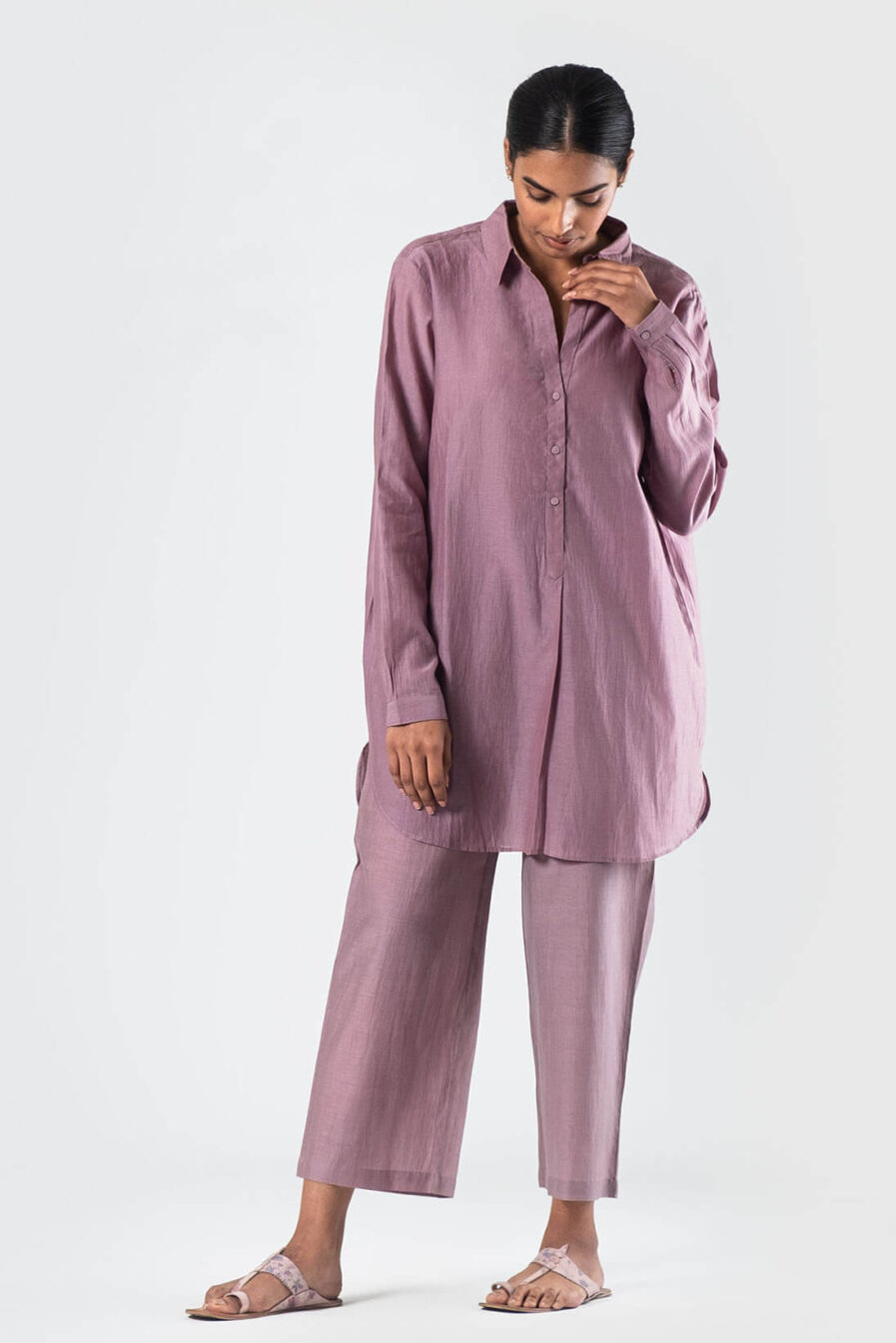 Anavila Lavender Brooke cotton silk shirt