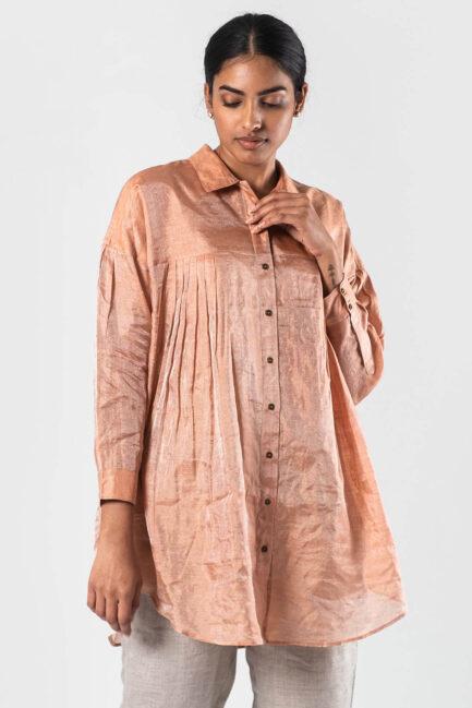 Anavila Peach Nyasa metallic shirt