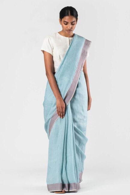 Anavila Sky blue herringbone sari