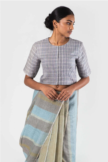Anavila Grey Linen checkered blouse