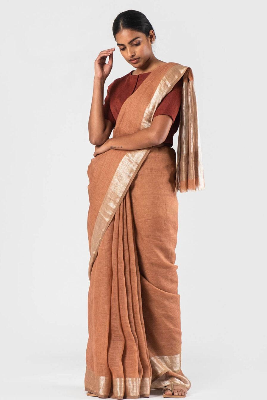 Anavila Madder Festive jacquard sari