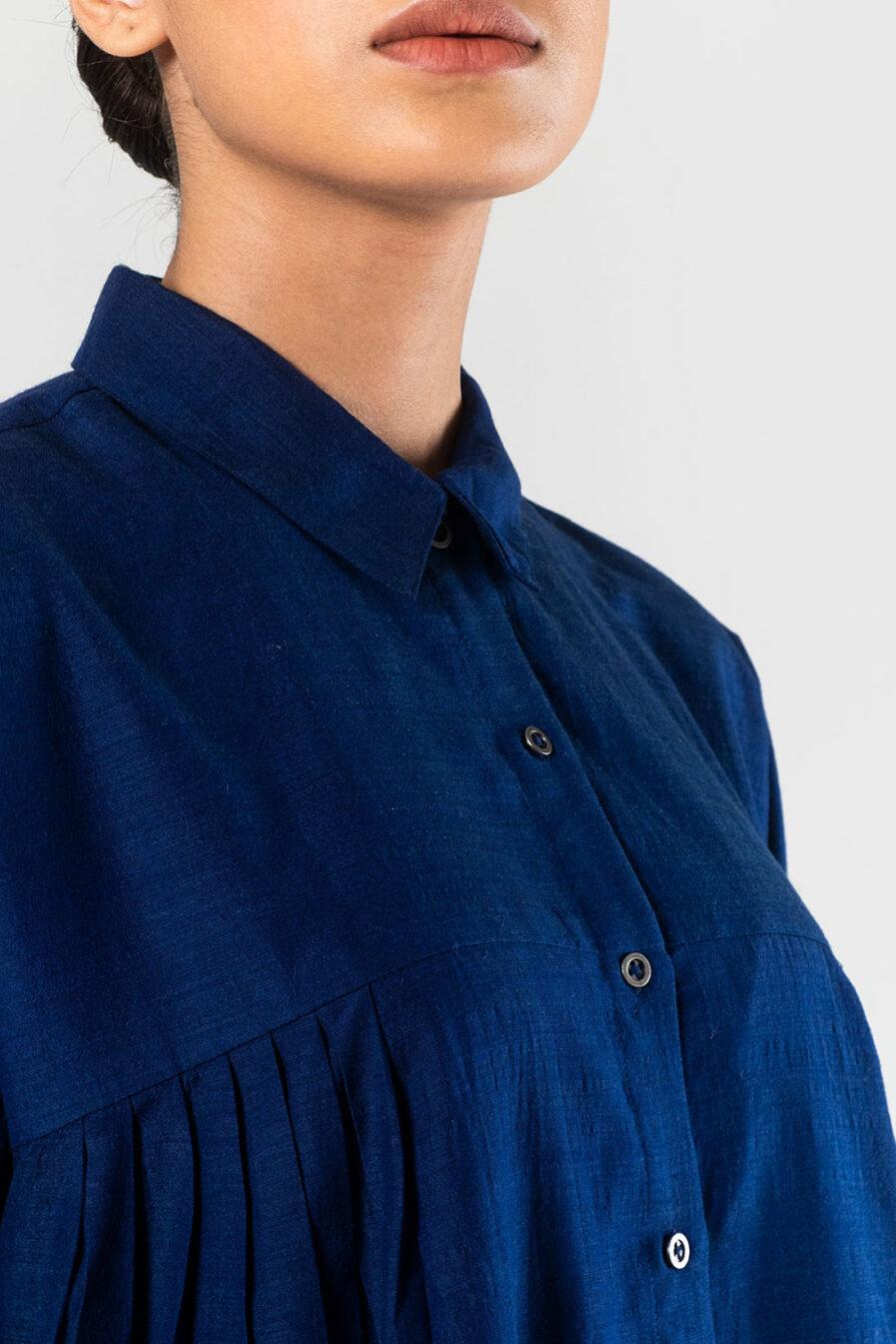 Anavila Indigo Nasya wool silk shirt