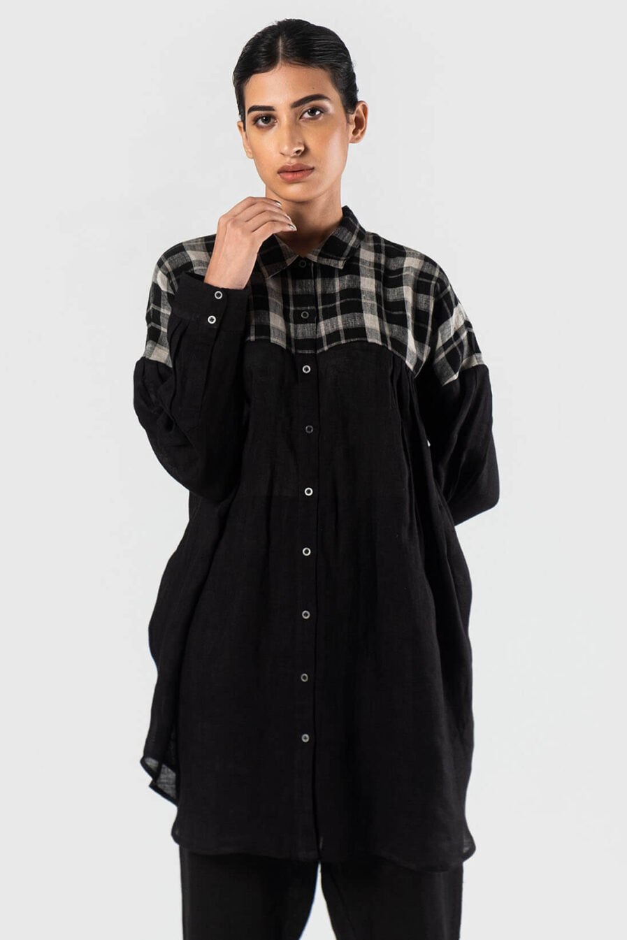Anavila Black Nasya linen shirt