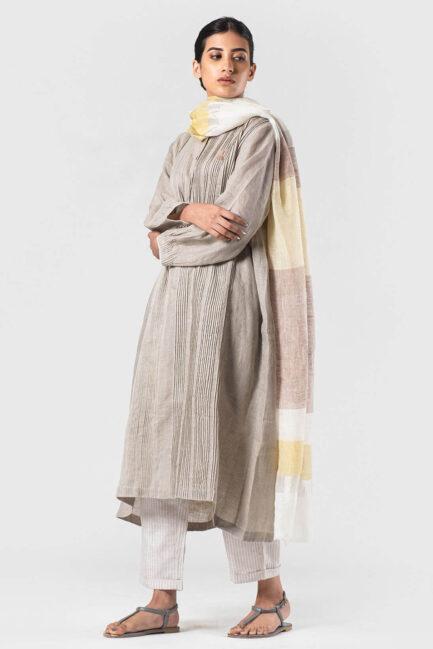 Anavila Fawn-canary yellow Zari detail dupatta