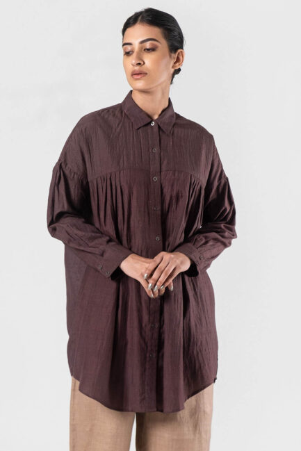 Anavila Dusty brown Nasya wool silk shirt