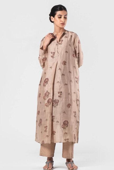Anavila Beige Linen silk irregular tunic