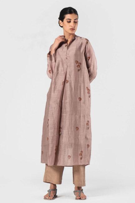 Anavila Fawn Linen silk irregular tunic (Orange flower)