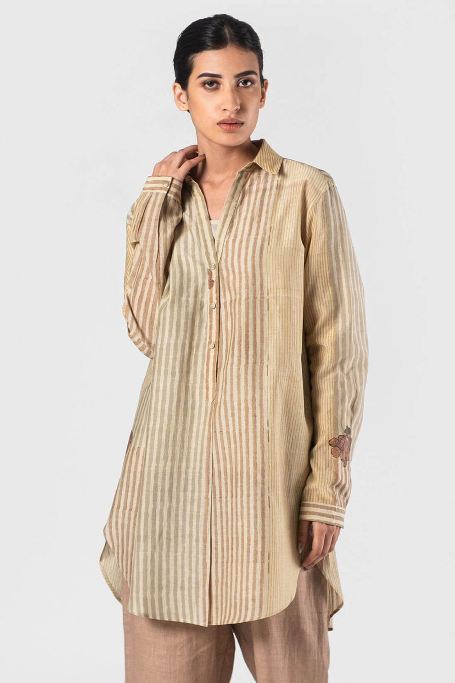 Anavila Beige Brooke shirt printed-stripes