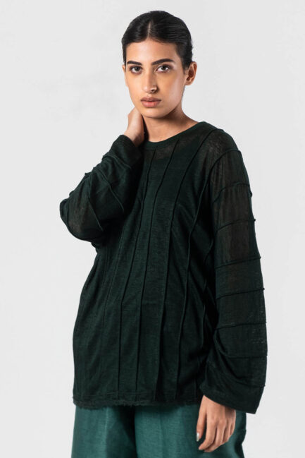 Anavila Bottle green Jersey corded shirt