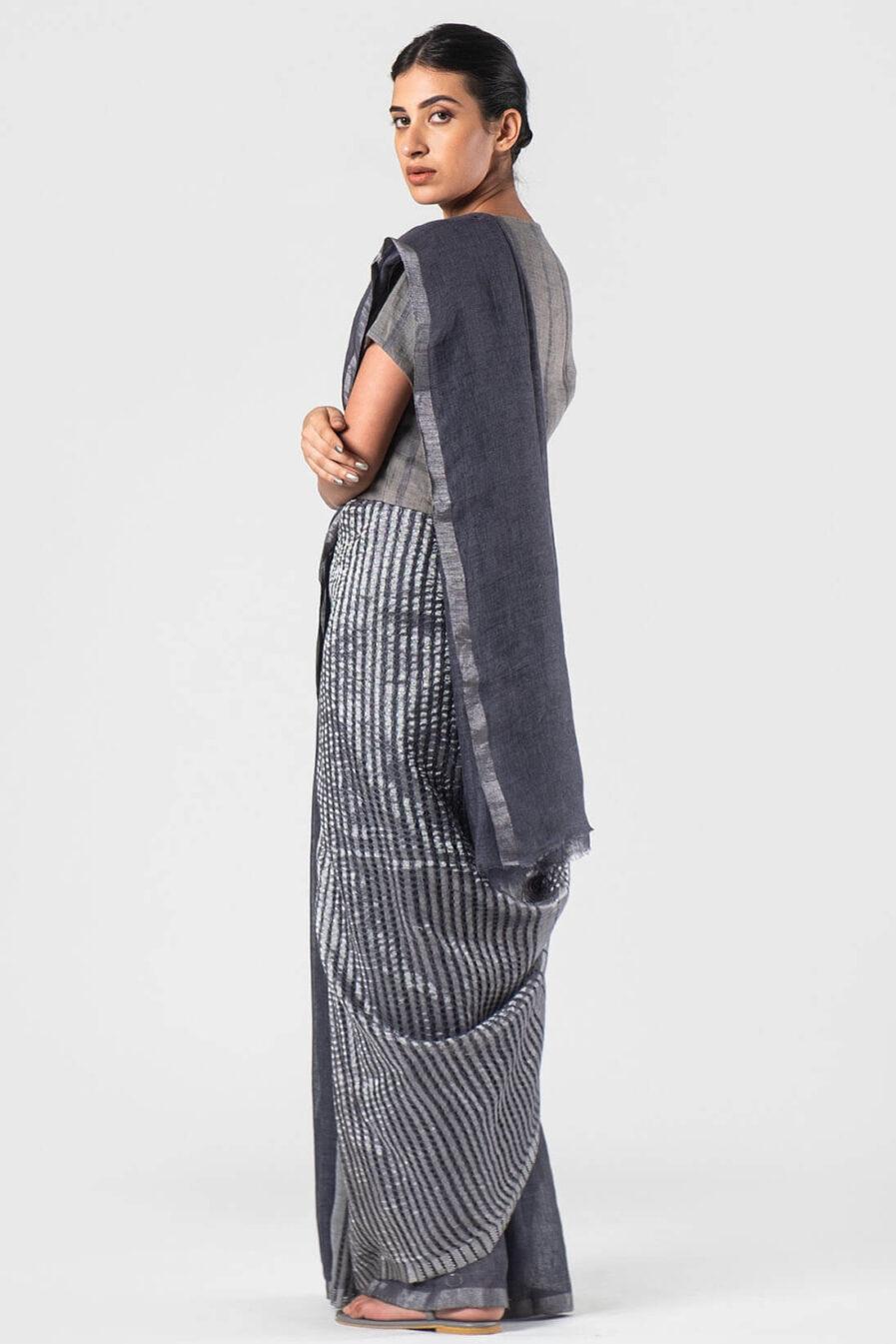 Anavila Grey Long mocklino pallu sari