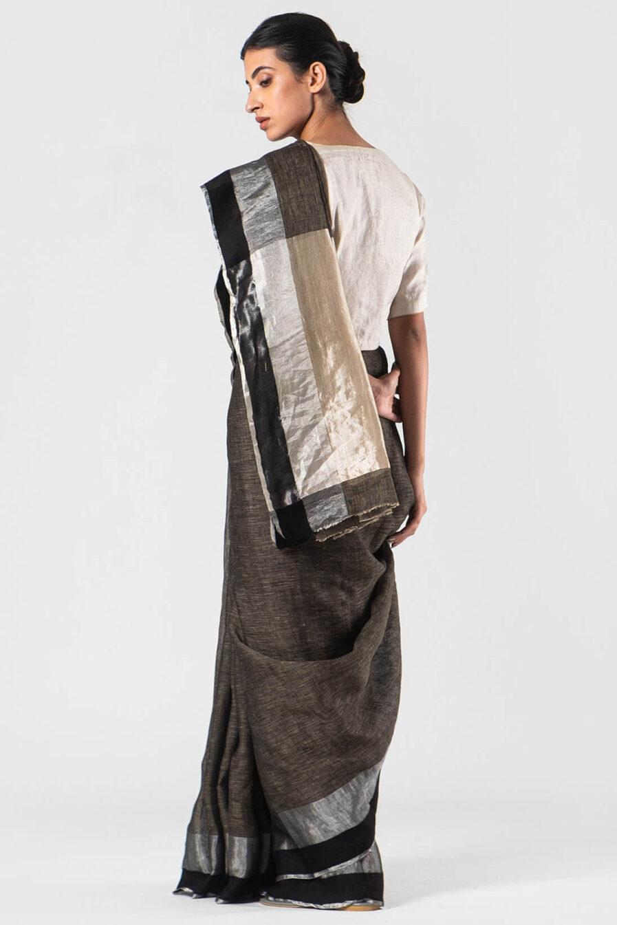Anavila Charcoal Black satin border sari